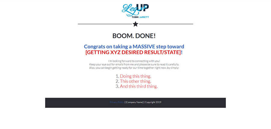 Automatic Sales Machine – Step 5 Thank You Page